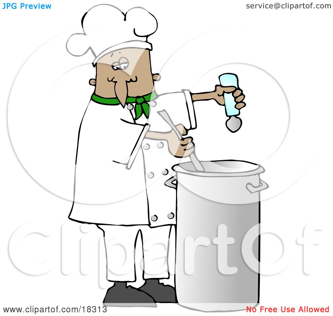Clipart Illustration of a French or Hispanic Male Chef In A Green ...