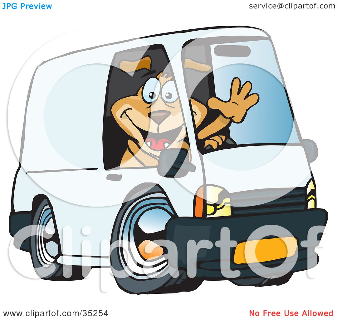 clipart illustration of a friendly brown dog waving and driving a
