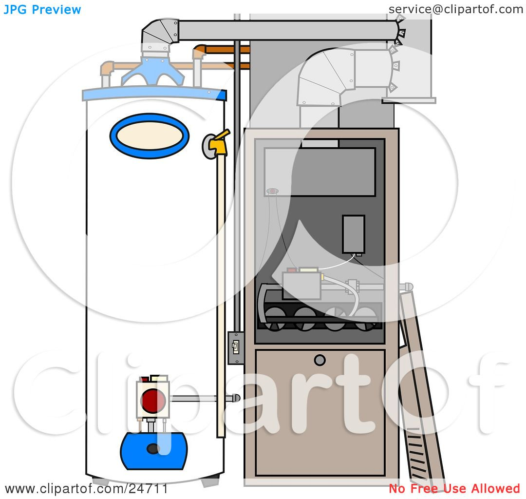 Clipart Illustration of a Furnace And Water Heater In A Residential ...