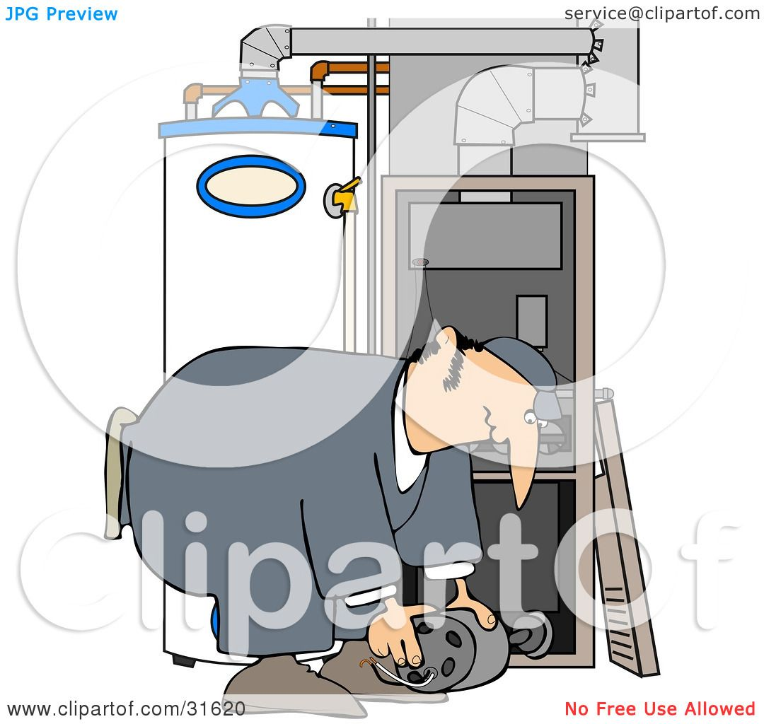 Clipart Illustration of a Furnace Repair Man Bending Over While ...