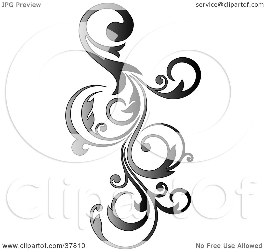 Clipart Illustration of a Gradient Vertical Curly Vine ...