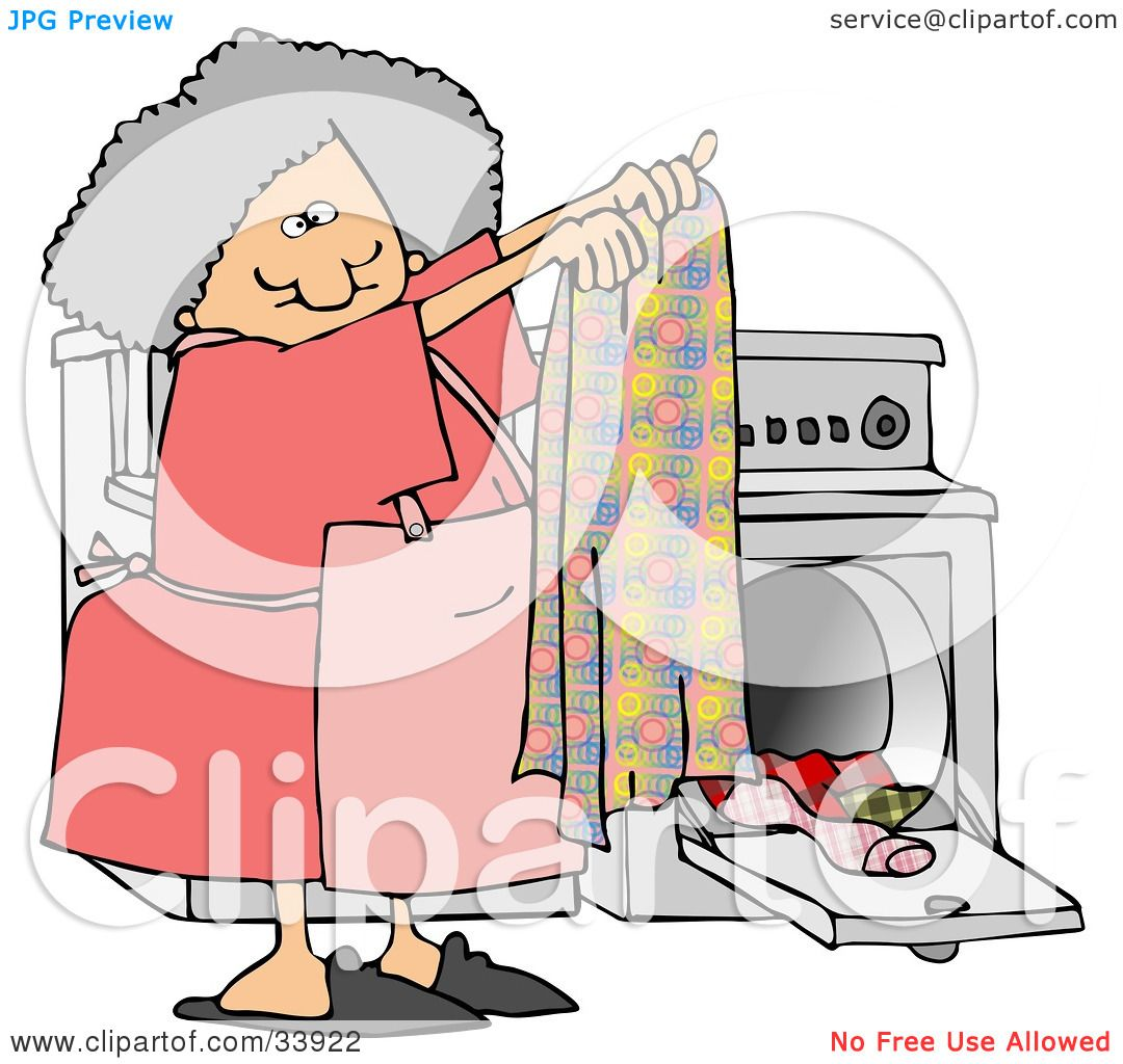 Washer And Dryer Clipart clipart illustration of a gray haired woman holding up a clean