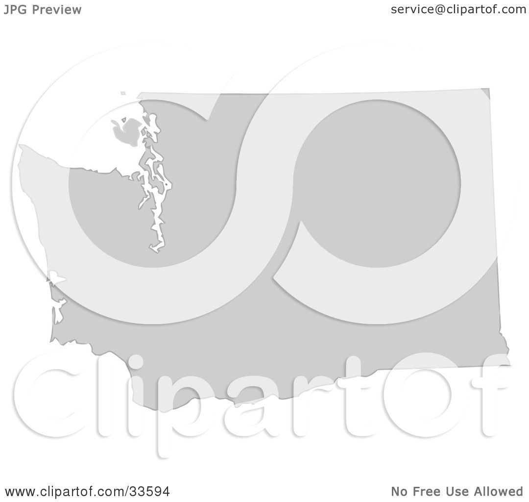 Clipart Illustration Of A Gray State Silhouette Of