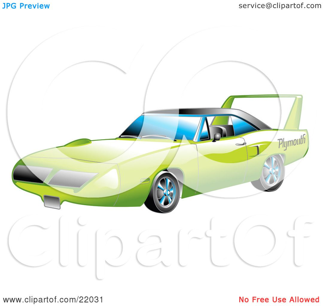 Clipart Illustration Of A Green 1970 Plymouth Road Runner