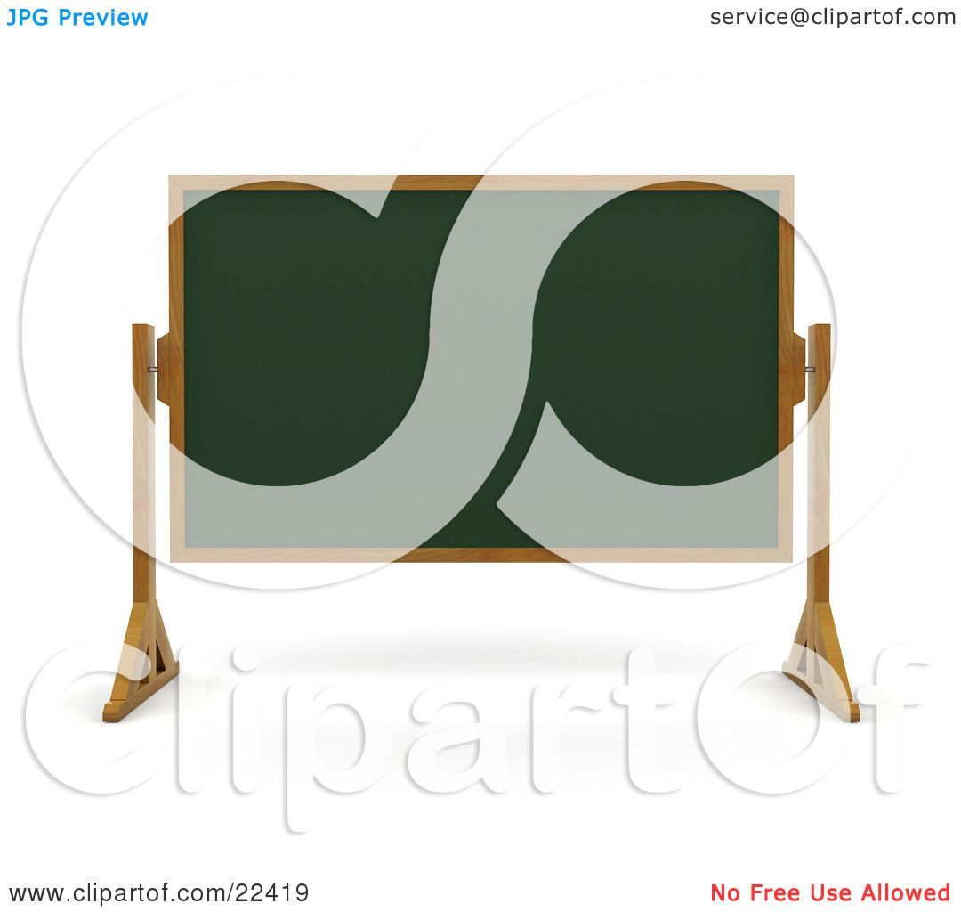 Clipart Illustration Of A Green Chalk Board With Wooden Frame Wiped Clean And Standing In Classroom By KJ Pargeter