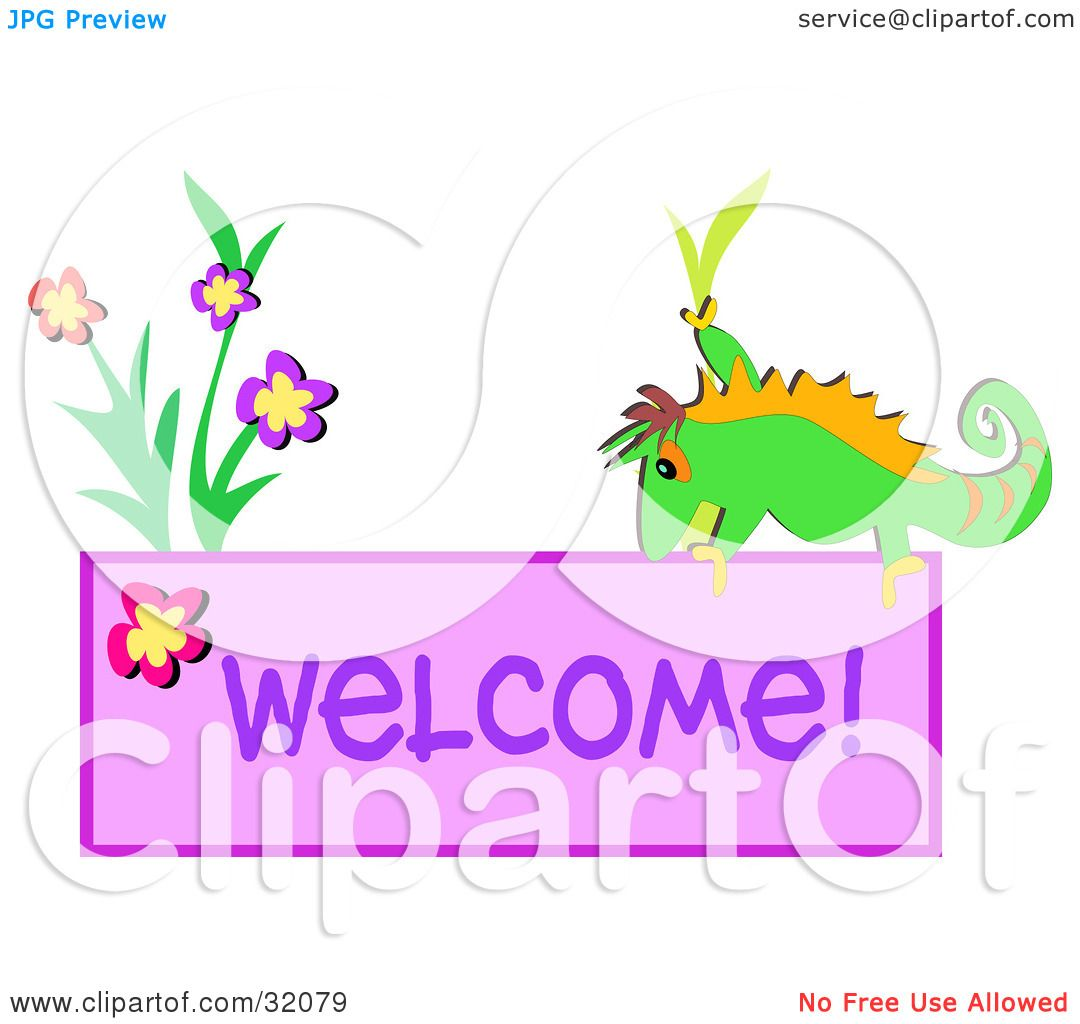 Clipart Illustration of a Green Chameleon By Flowers On A ...