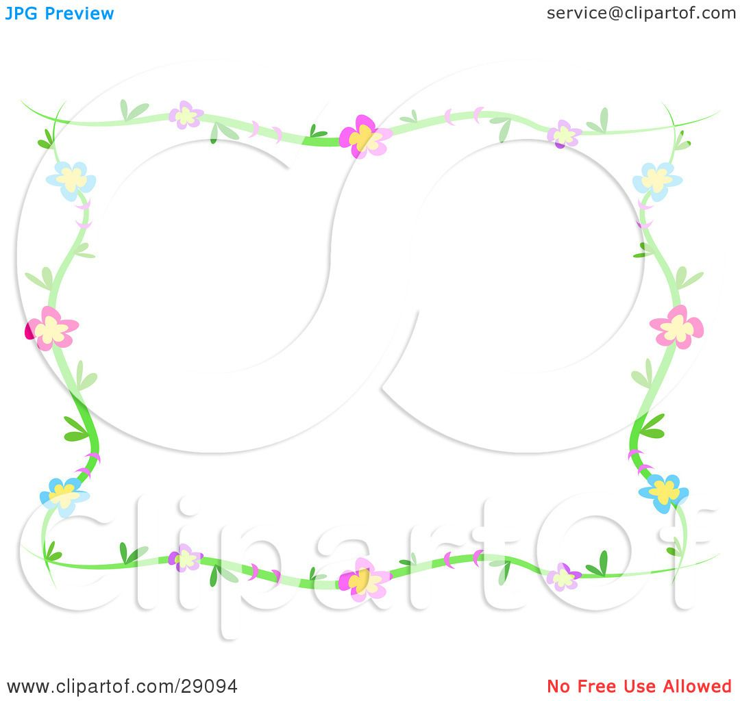 Clipart illustration of a green vine frame of blue purple pink clipart illustration of a green vine frame of blue purple pink and red flowers around a white background by bpearth jeuxipadfo Images