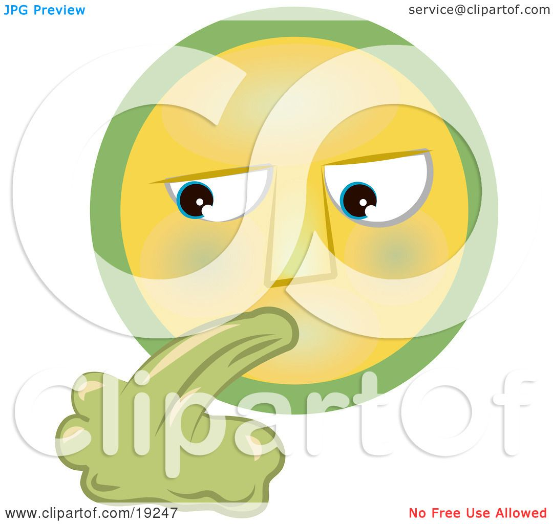 Clipart Illustration of a Grossed Out Yellow And Green Smiley Face ...