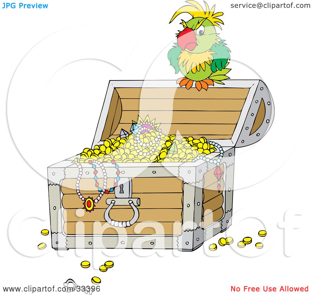 Clipart Illustration of a Grouchy Green Parrot Perched ...