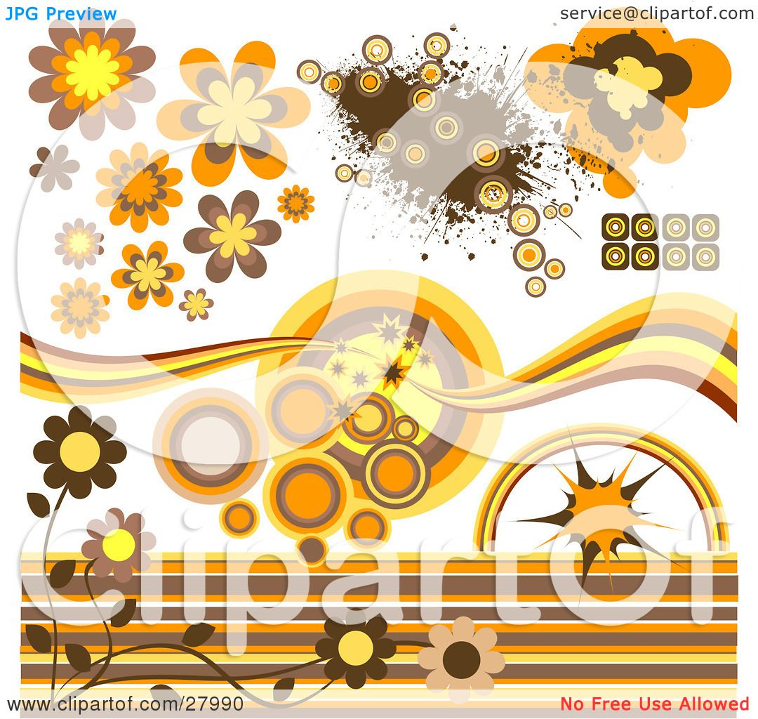 20 Ways To Decorate With Orange And Yellow: Clipart Illustration Of A Group Of Circular, Flower And