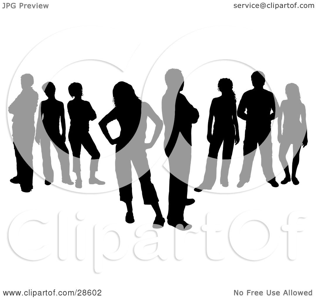 Clipart Illustration Of A Group Of Eight Black Silhouetted