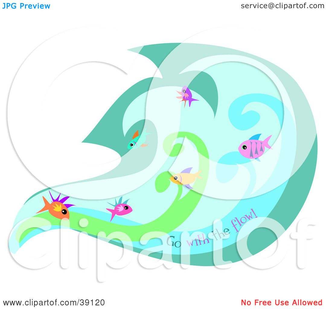 Clipart Illustration of a Group Of Fish Swimming In A ...