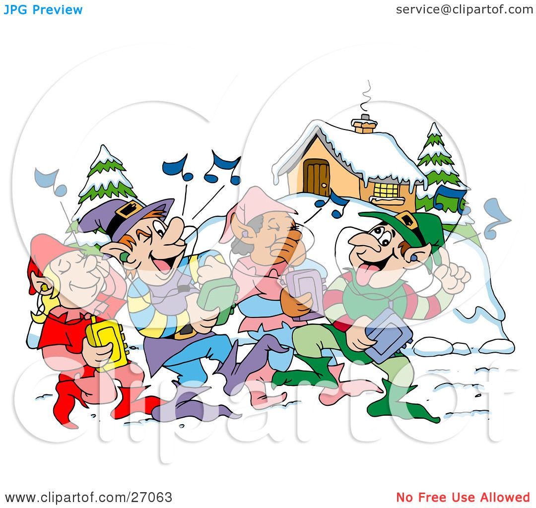 Clipart illustration of a group of happy elves walking through a clipart illustration of a group of happy elves walking through a winter village and listening to christmas music on cd players by lafftoon voltagebd Images