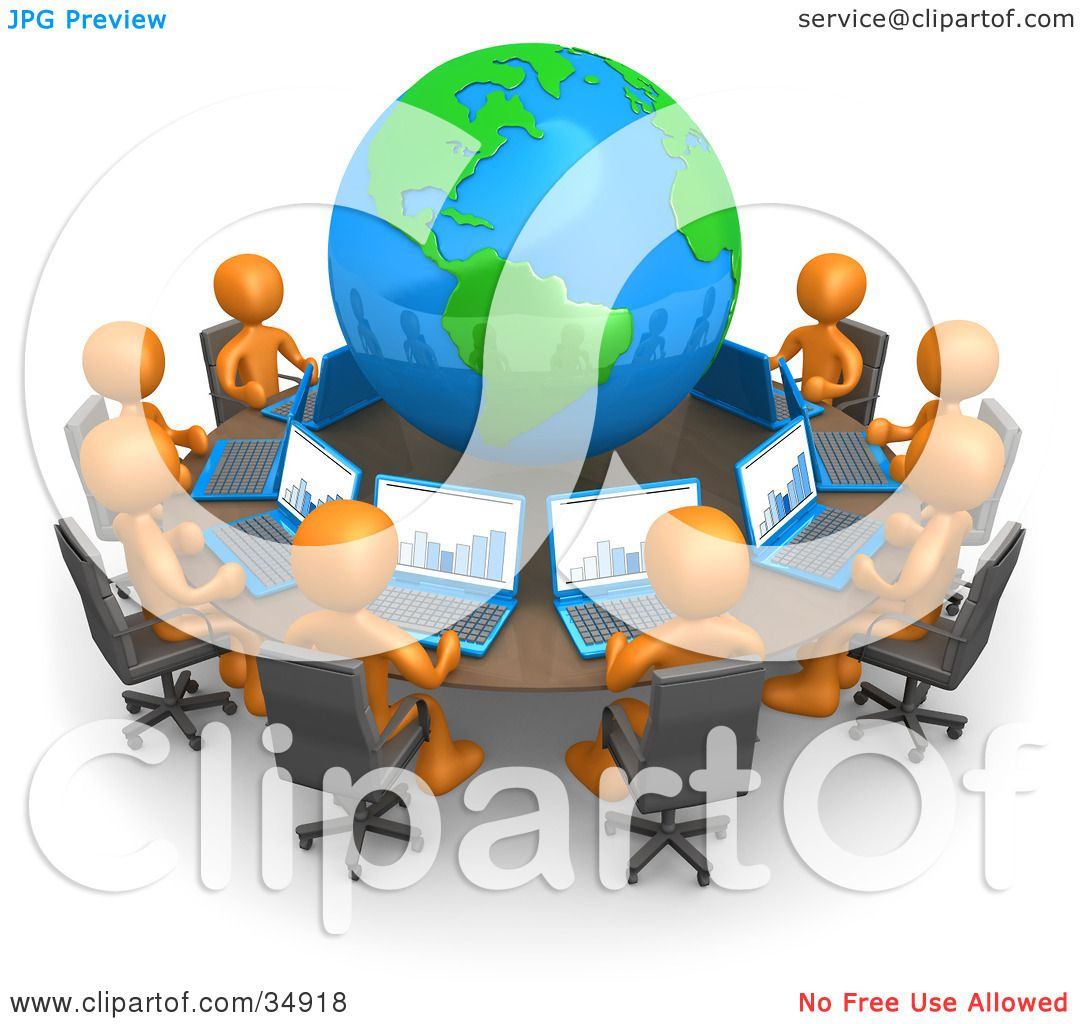 Clipart Illustration Of A Group Of Orange People Working On - Round table clip art