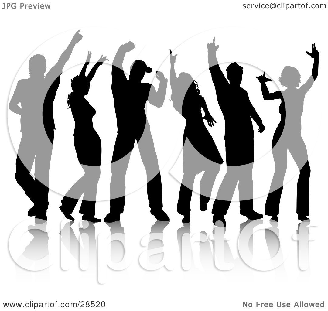 Clipart Illustration Of A Group Of Six Black Silhouetted
