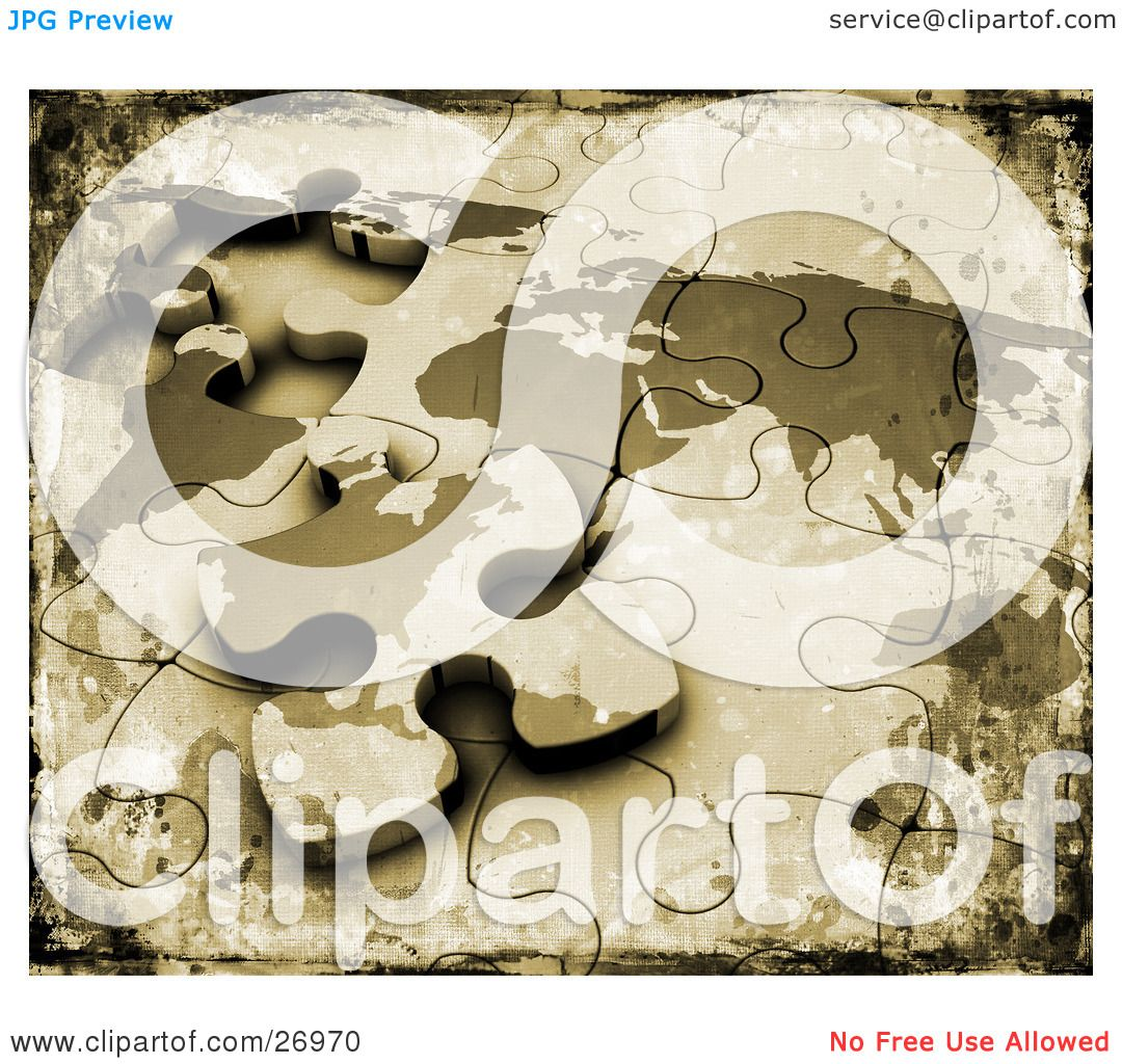 Clipart illustration of a grunge textured background of an clipart illustration of a grunge textured background of an incomplete world map puzzle with the last piece resting on top by kj pargeter gumiabroncs Choice Image