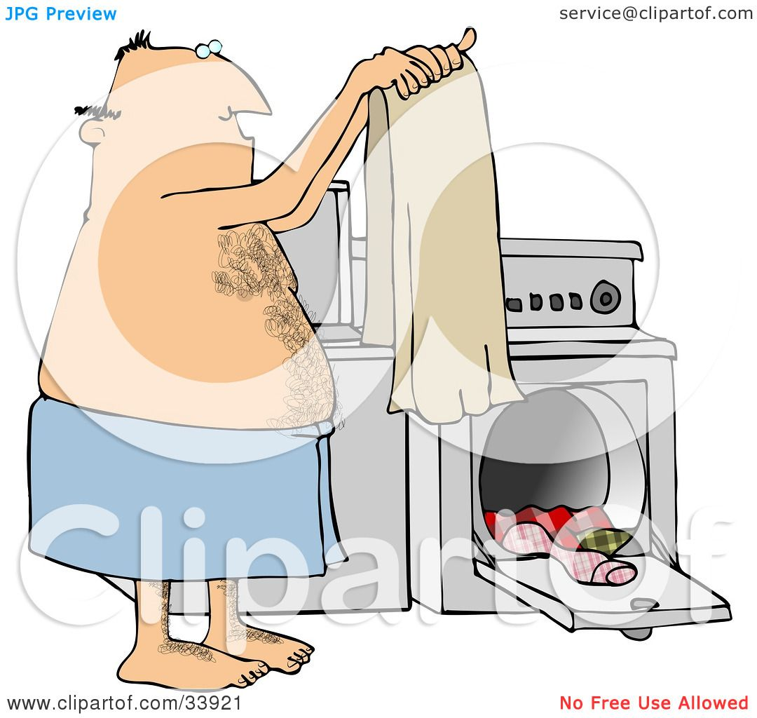 Washer And Dryer Clipart clipart illustration of a hairy man wrapped in a towel, holding up