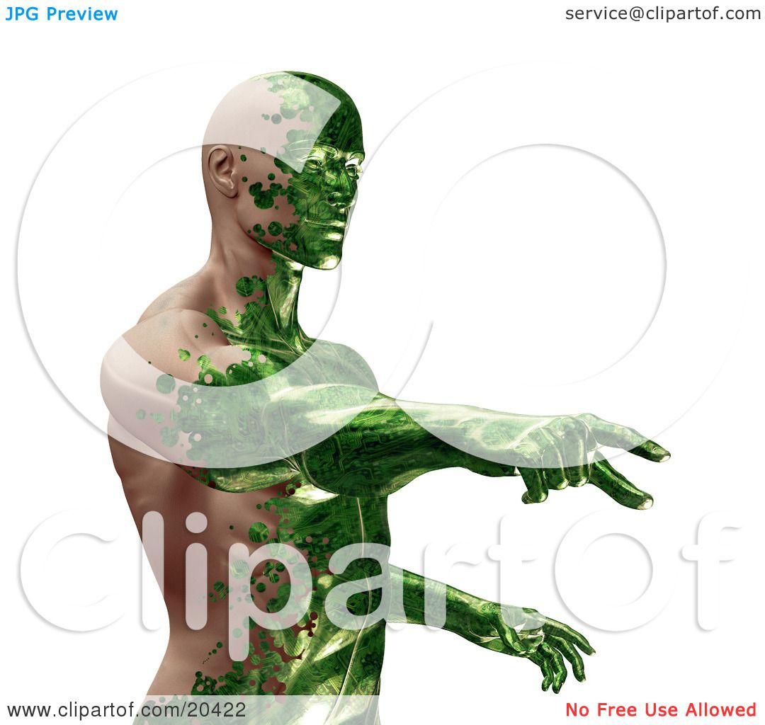 Clipart Illustration Of A Half Man Half Robot With Green