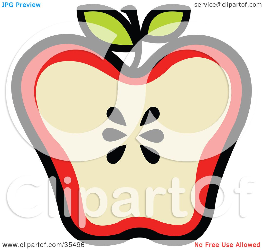 Clipart Illustration of a Halved Red Apple With Seeds In ...