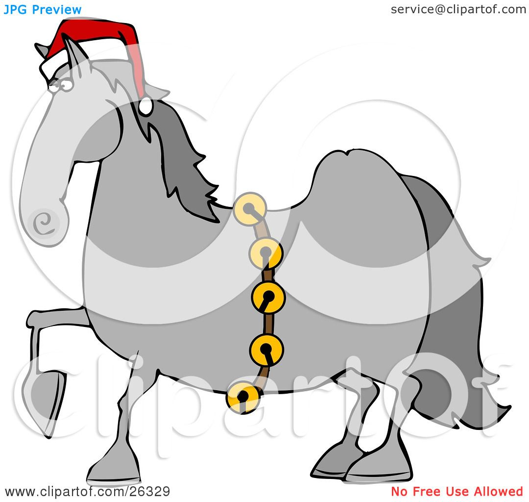 Clipart Illustration of a Handsome Gray Horse Decked Out In A Red ...