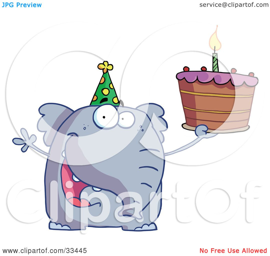 Clipart Illustration Of A Happy Birthday Elephant In Party Hat Holding Up Cake