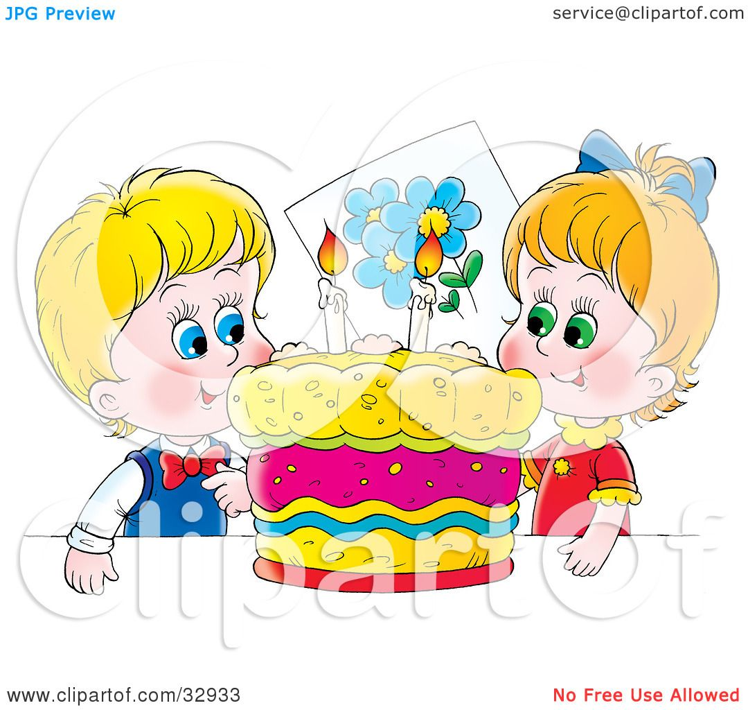 Clipart Illustration Of A Happy Boy And Girl Twins Smiling While