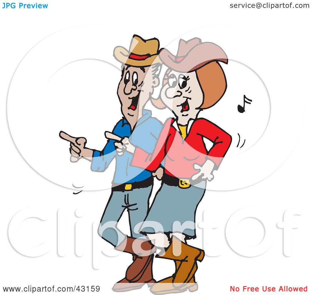 Clipart Illustration of a Happy Couple Line Dancing To Country ...