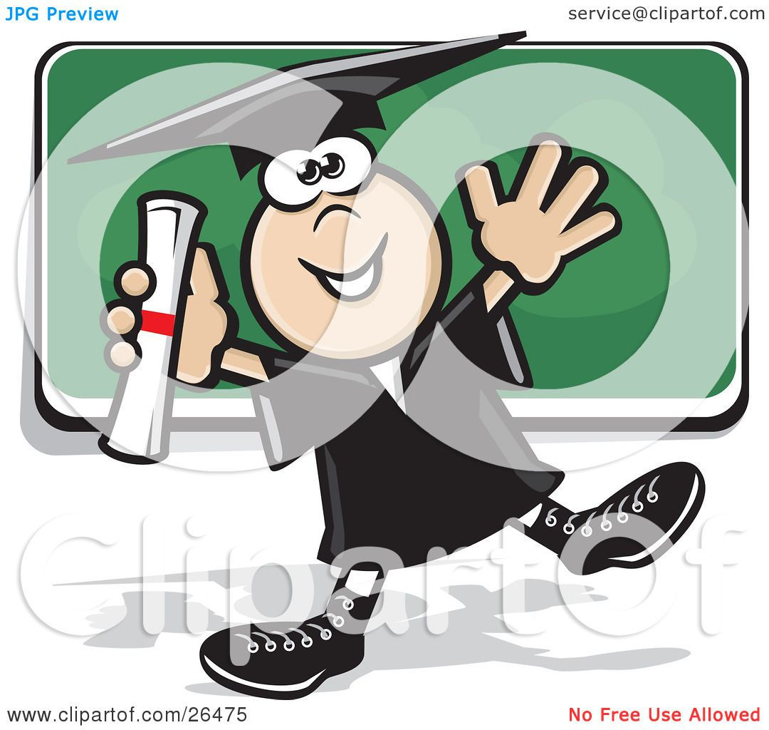 Clipart Illustration of a Happy Graduate Boy In A Cap And Gown ...