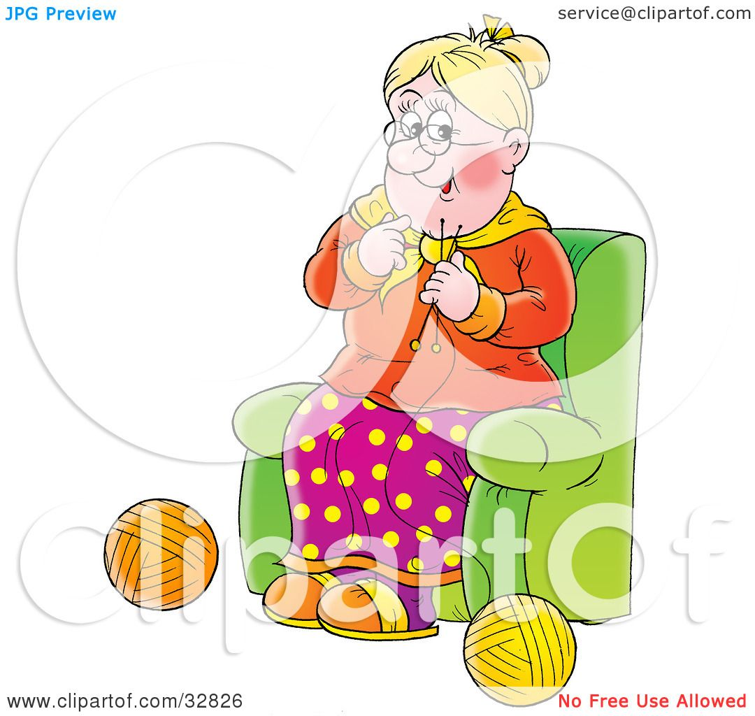 Clipart Illustration Of A Happy Grandmother Sitting In A