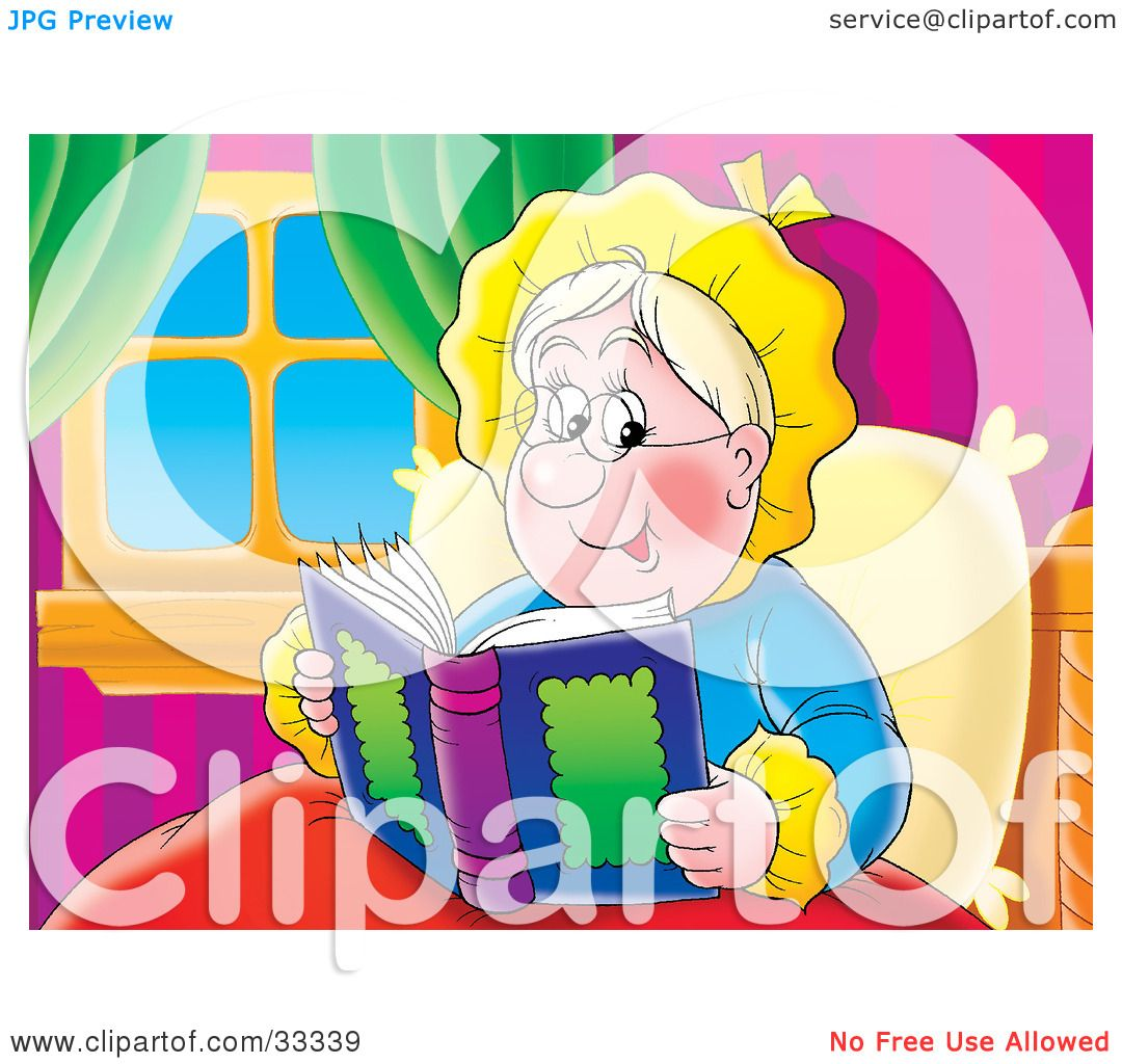 Clipart Illustration Of A Happy Granny Relaxing In Bed And