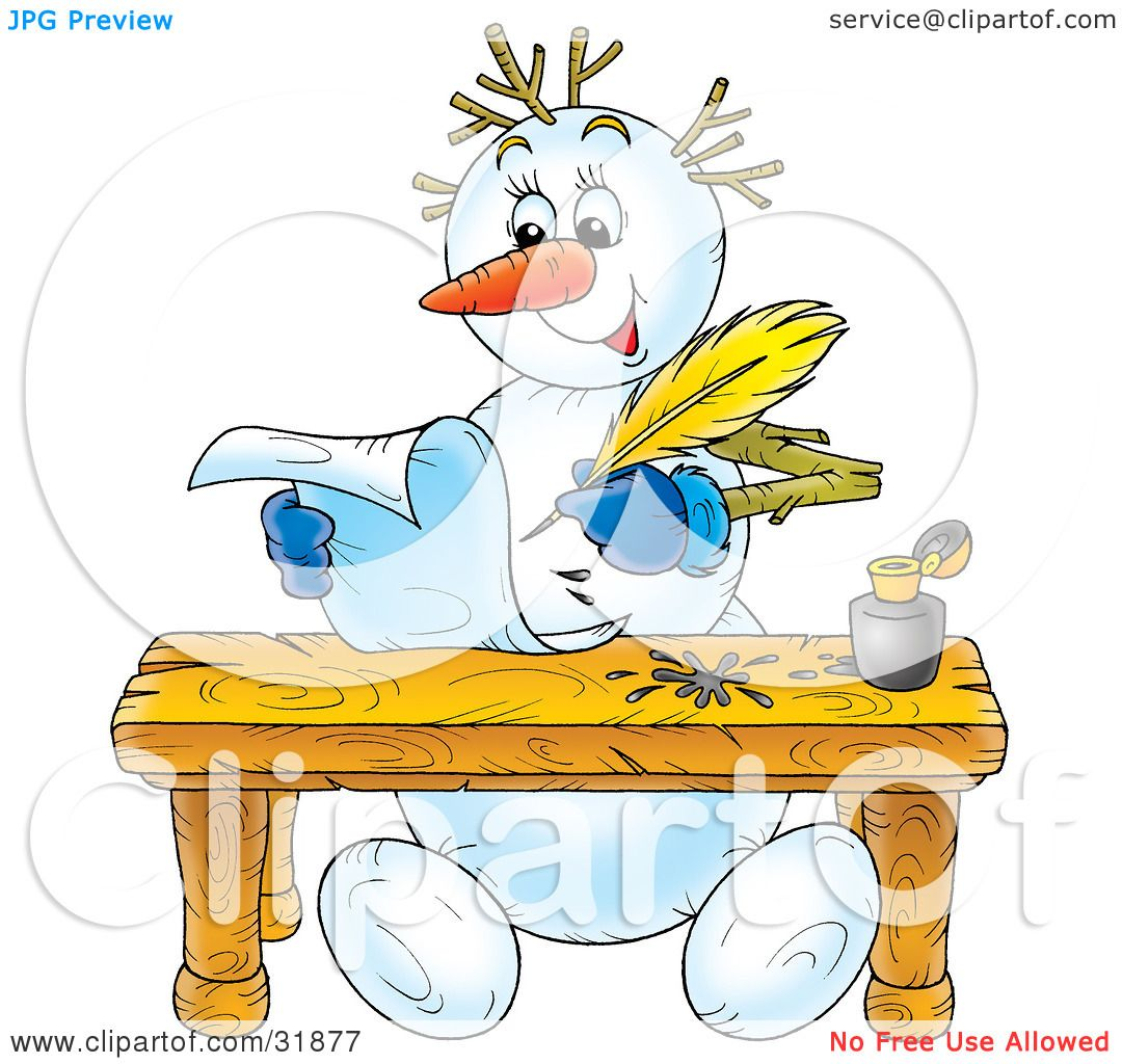 Clipart Illustration Of A Happy Snowman Seated At A Table Writing