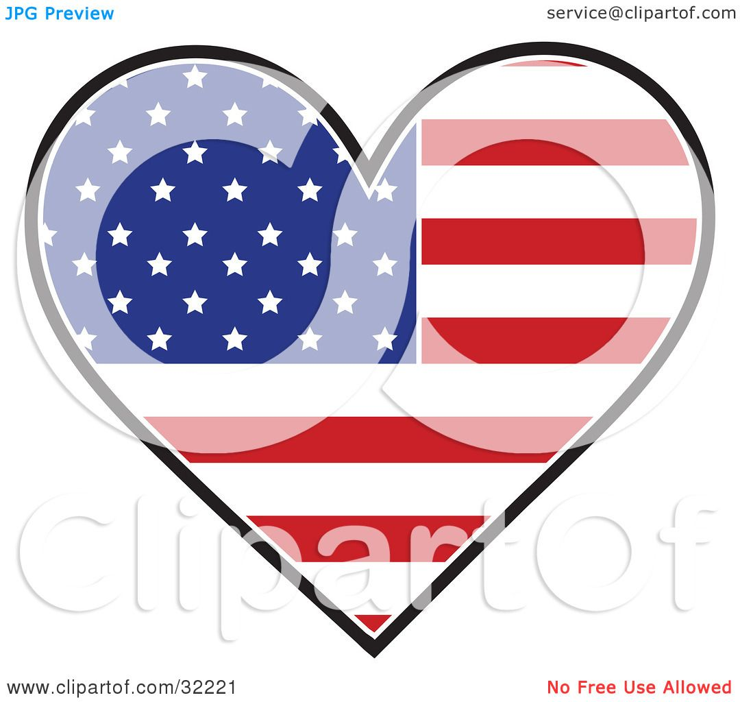 Clipart Illustration Of A Heart Shaped American Flag With