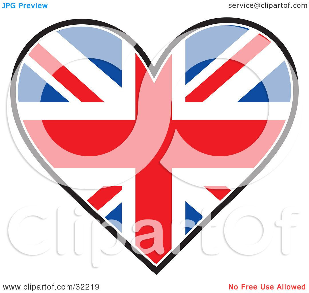 Clipart Illustration of a Heart Shaped Union Jack Flag, On ...
