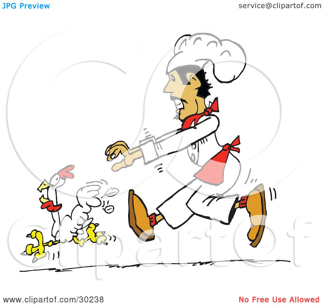 Clipart Illustration of a Hispanic Male Chef Chasing A White Chicken ...