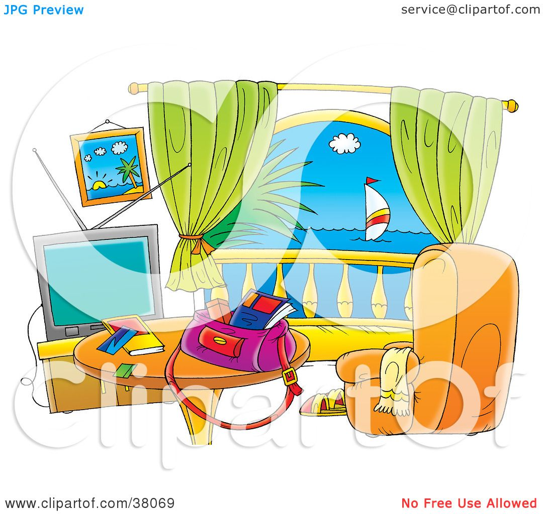Clipart illustration of a hotel room with balcony view