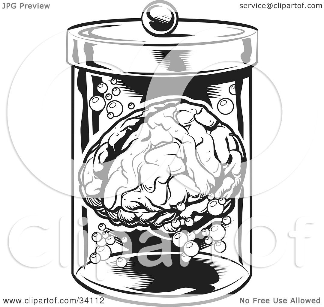 Clipart Illustration Of A Human Brain And Bubbles Floating