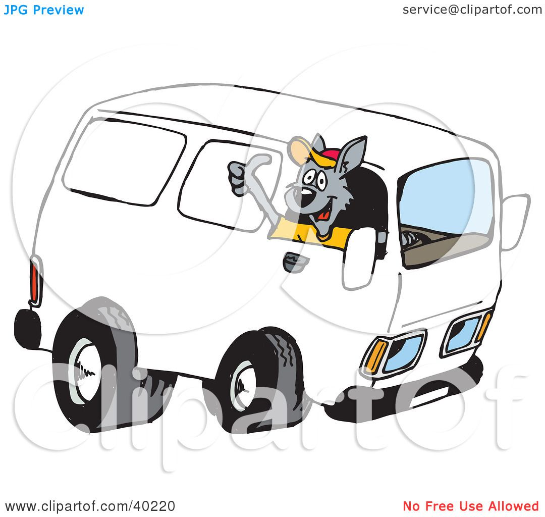 clipart illustration of a kangaroo delivery driver driving a van and