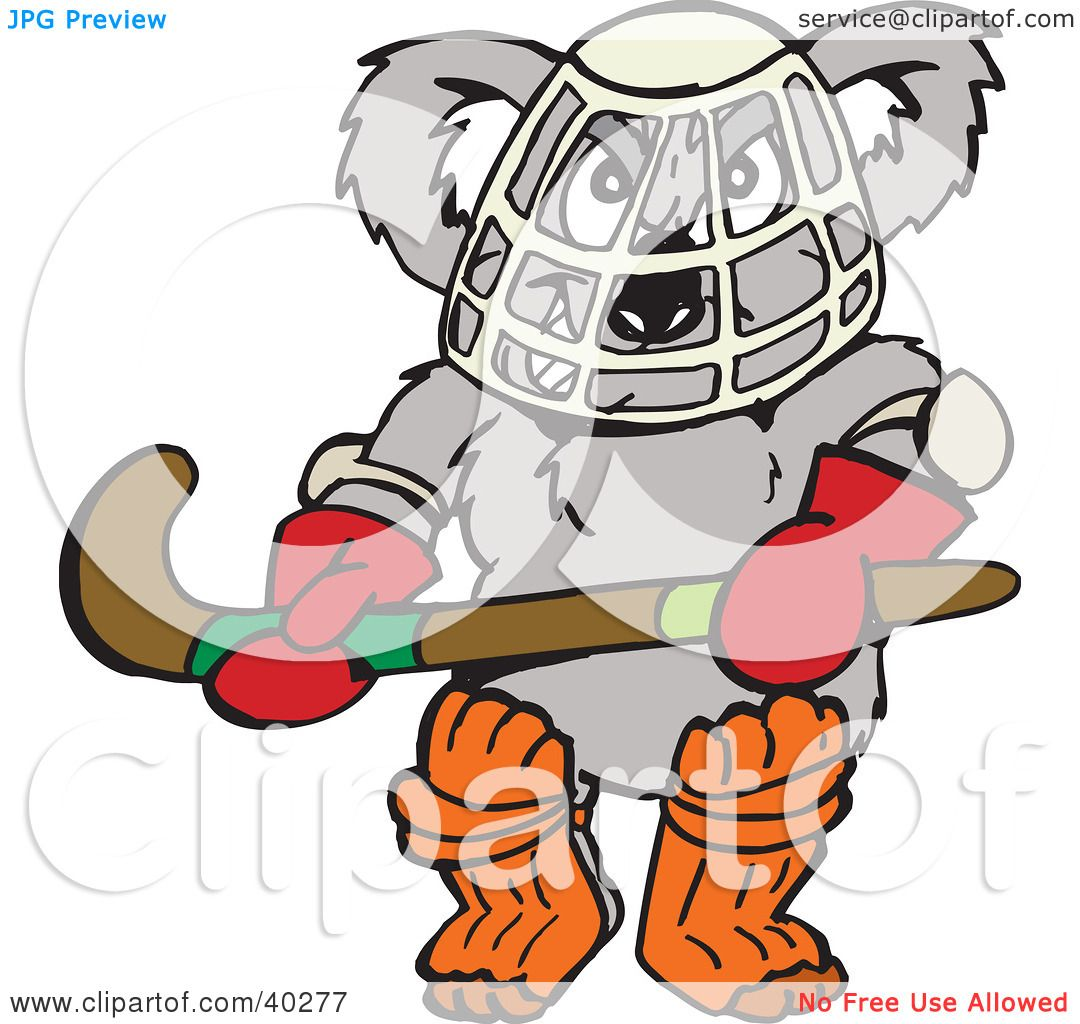 Clipart Illustration of a Koala Hockey Goalie Holding A Stick by ...