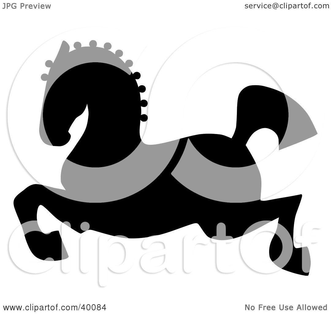 Clipart Illustration Of A Leaping Black Silhouetted Oriental Horse By C Charley Franzwa