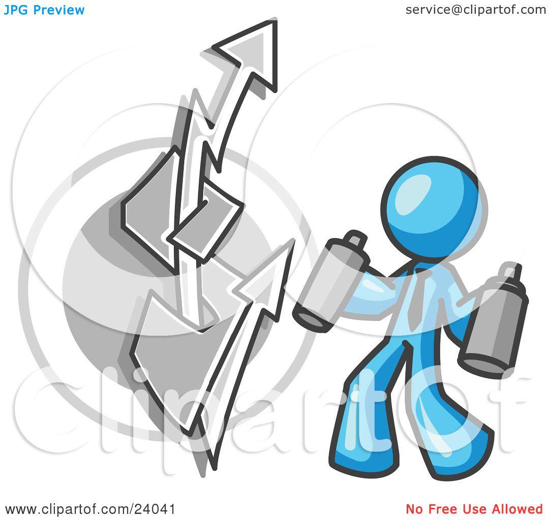 Clipart Illustration Of A Light Blue Business Man Spray