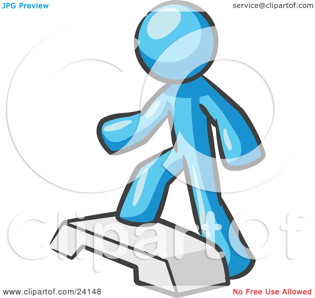 Clipart Illustration Of A Light Blue Man Doing Step Ups On