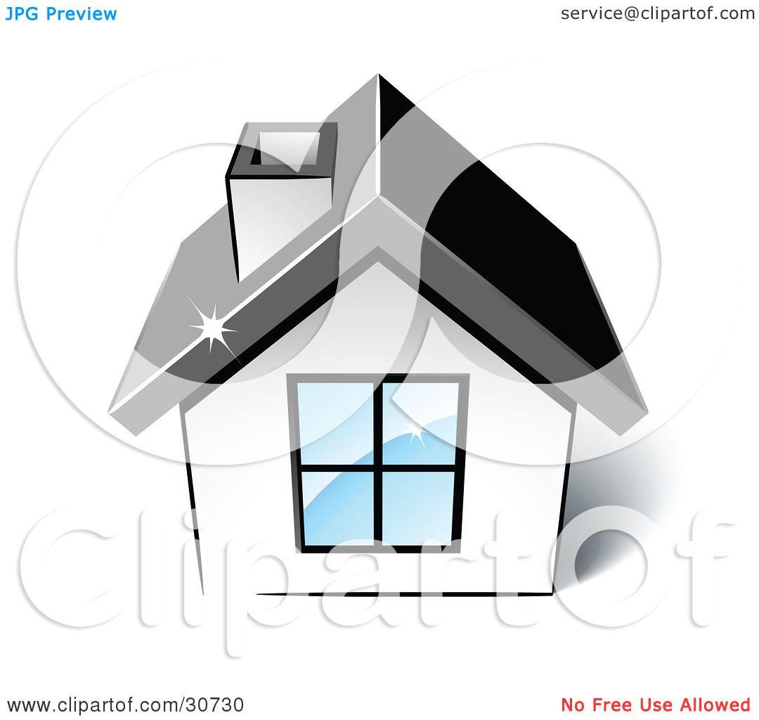 Clipart Illustration Of A Little White House With A Big