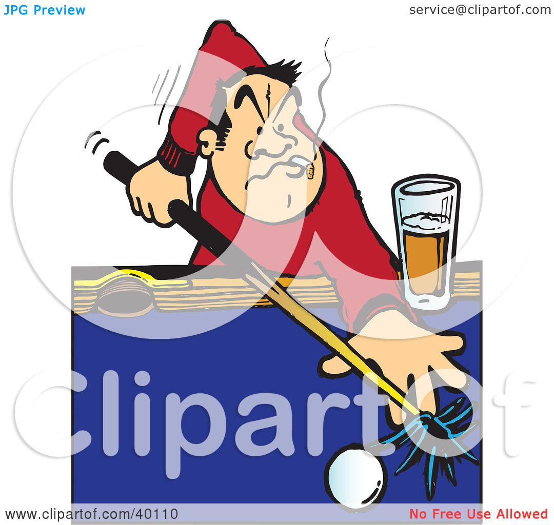 Clipart Illustration Of A Male Billiards Player Aiming A