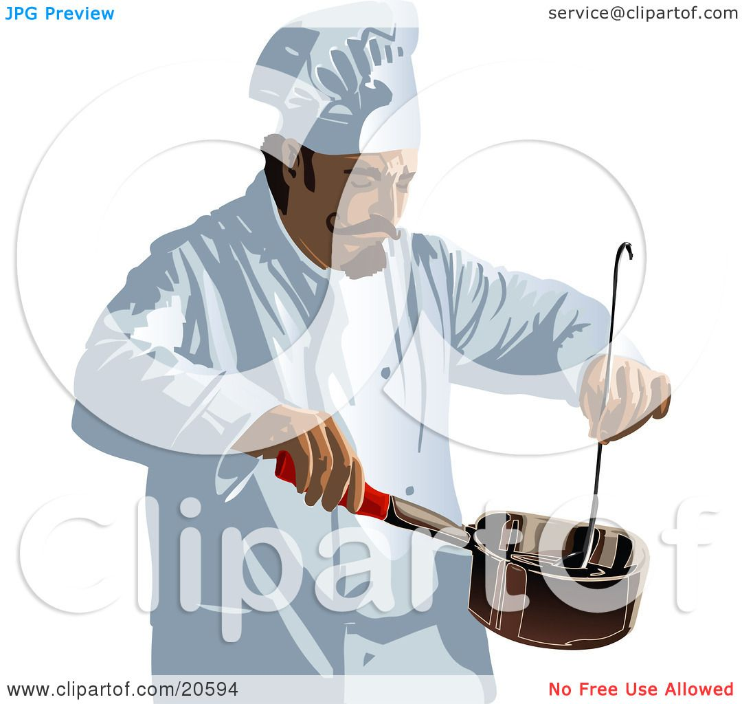 Clipart Illustration Of A Male Chef With Curly Mustache Wearing White Uniform And Hat Stirring Food In Pot While Cooking Restaurant Kitchen By