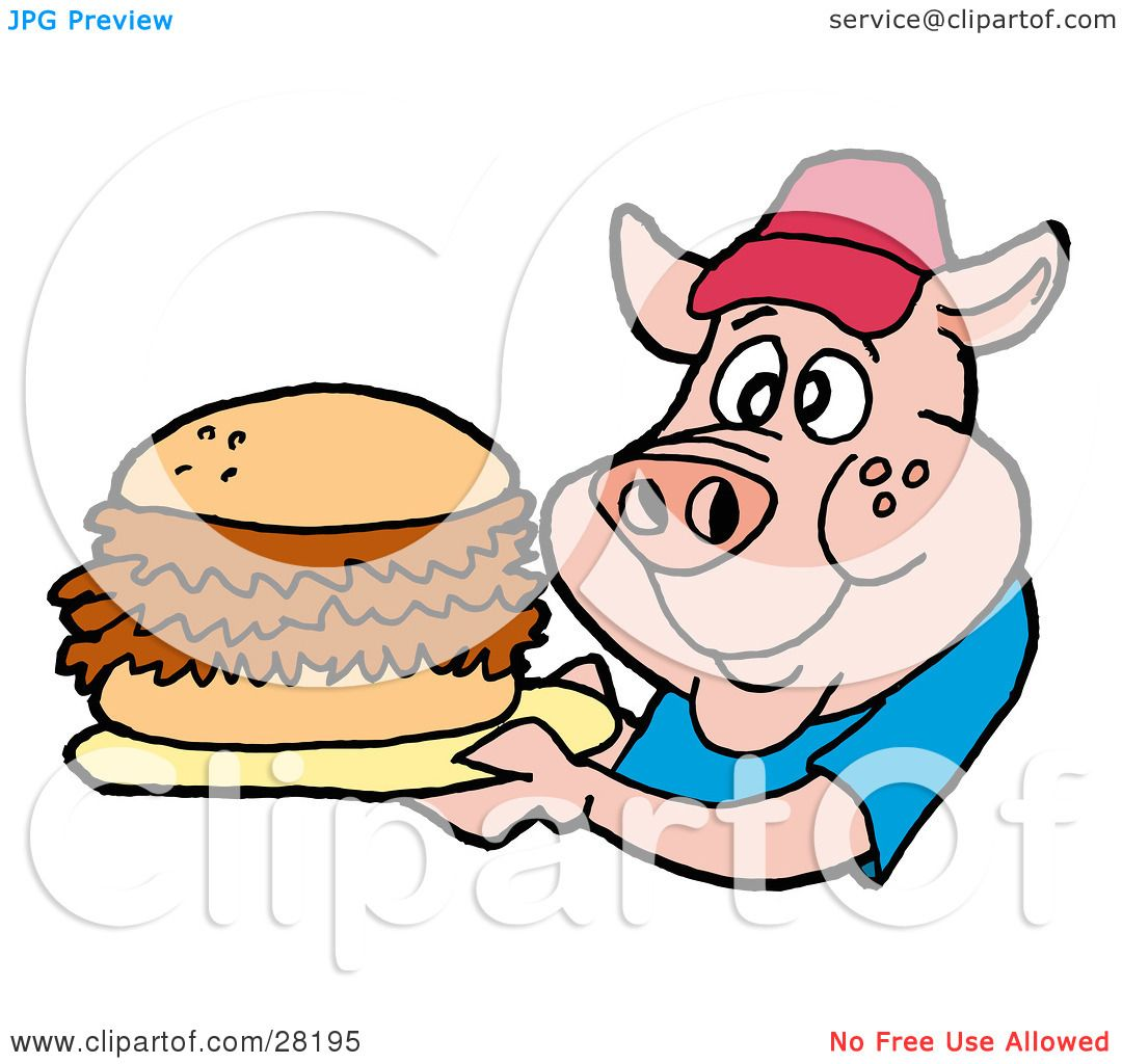 Clipart Illustration of a Male Pig In A Red Hat And Blue ...