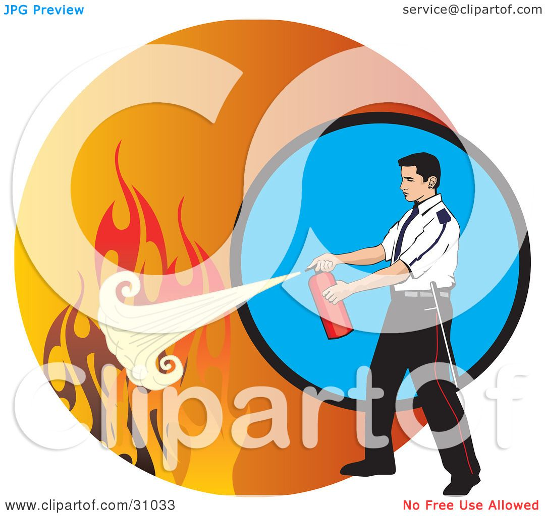 Clipart Illustration of a Man Calmly Extinguishing Flames With A ...