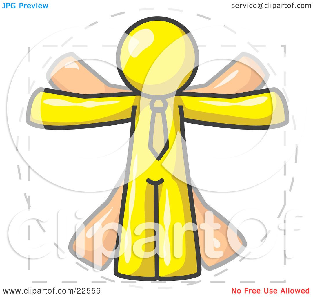 Clipart Illustration of a Man in Motion, Yellow Vitruvian ...