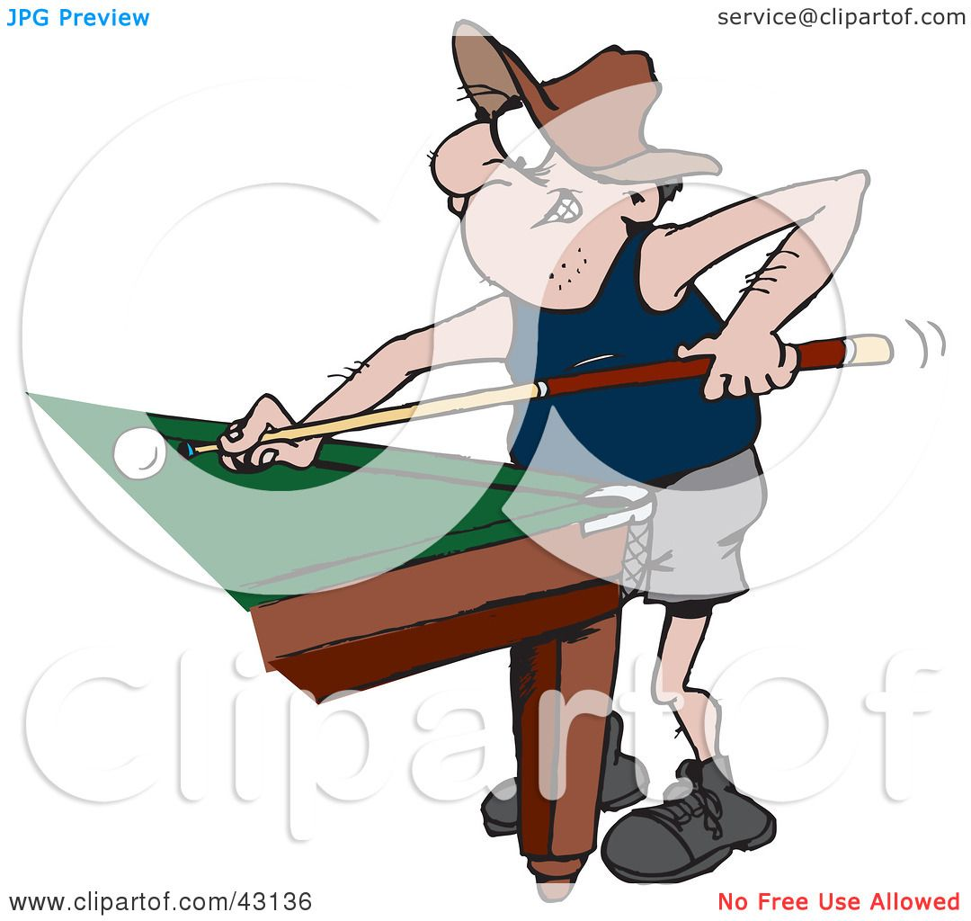 Clipart Illustration Of A Man Leaning Against Pool Table And Playing Billiards Game By Dennis Holmes Designs