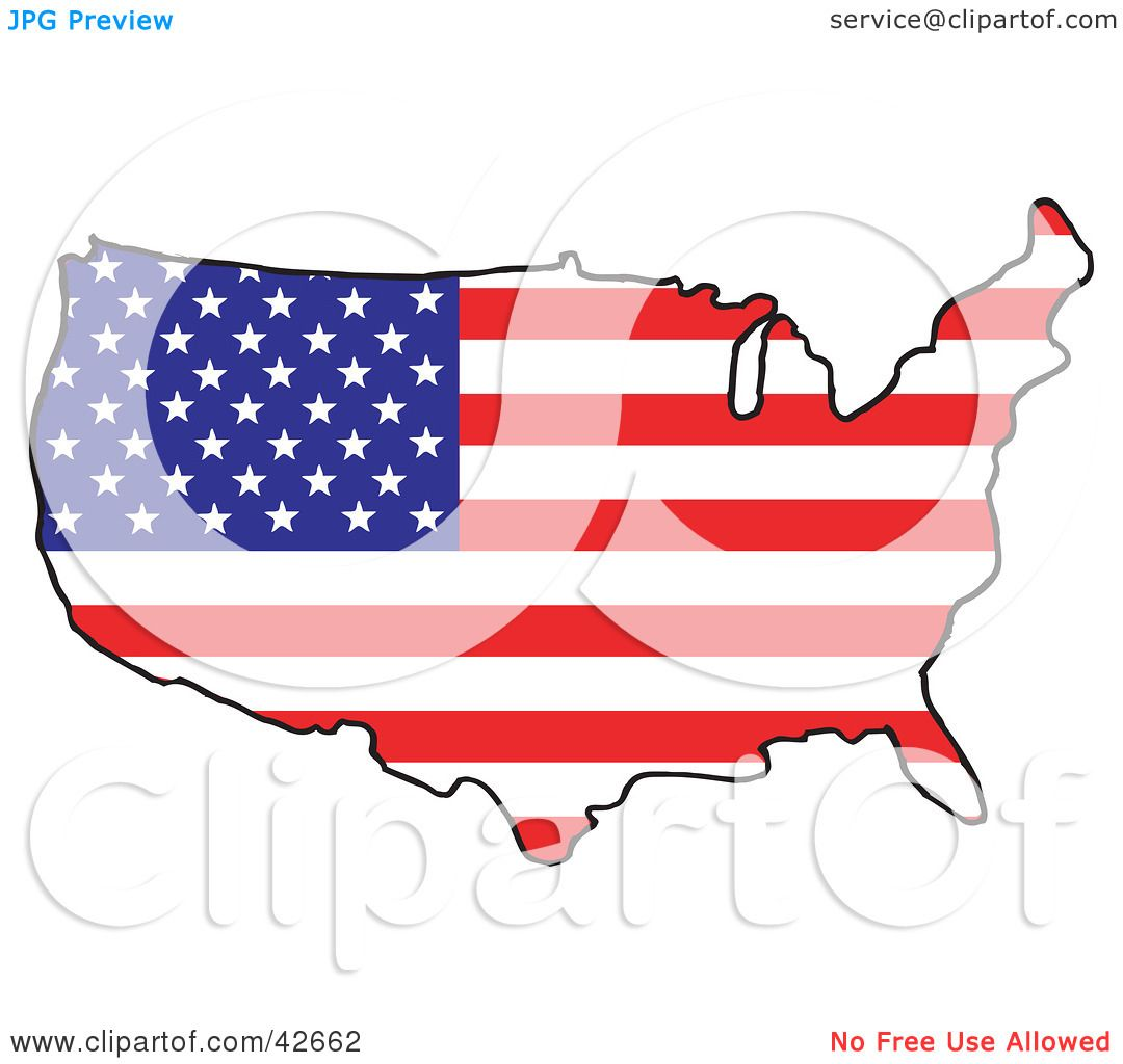 Clipart Illustration of a Map Of The Continental United States ...