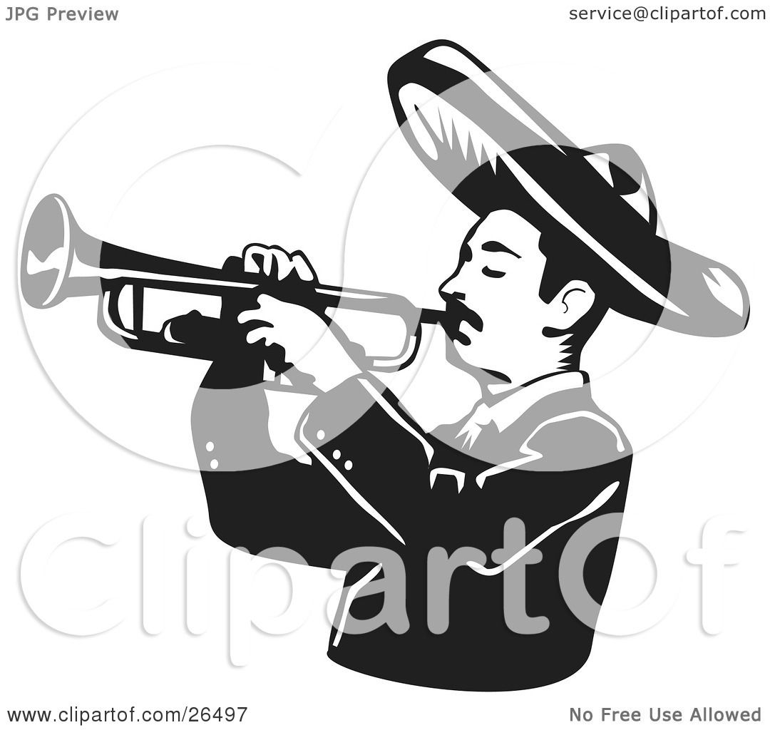 Clipart Illustration Of A Mariachi Band Man Wearing A